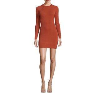Rust Long Sleeve Ribbed Dress
